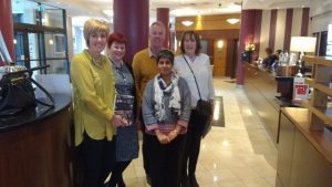 Dr.Sumana Navin in Nottingham with (L to R) Bronwyn, heart transplant recipient, Lorraine, Specialist Nurse for Organ Donation, Bronwyn's husband, Carol, mother of deceased donor James Donaldson